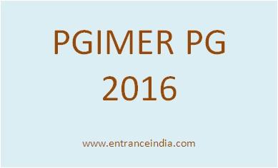 PGIMER PG 2016 Exam Schedule