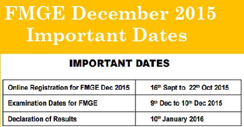 FMGE Important Dates December 2015