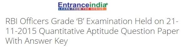 RBI Officers Grade 'B' Examination Held on 21-11-2015