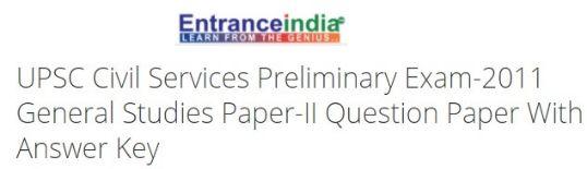 UPSC Civil Services Preliminary Exam-2011 General Studies Paper-II