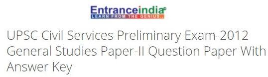UPSC Civil Services Preliminary Exam-2012 General Studies Paper-II